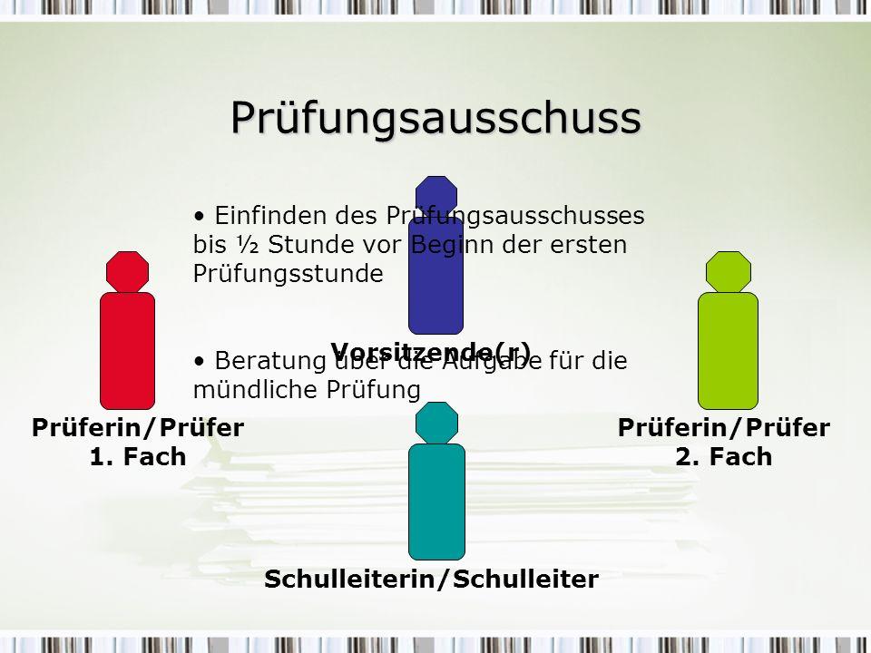 Prüfungsausschuss Vorsitzende(r) Prüferin/Prüfer 1. Fach Prüferin/Prüfer 2. Fach Schulleiterin/Schulleiter Einfinden des Prüfungsausschusses bis ½ Stu