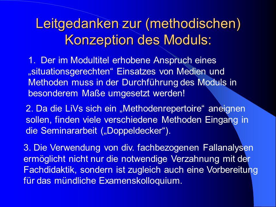 Übersicht über die Modulveranstaltungen 1.