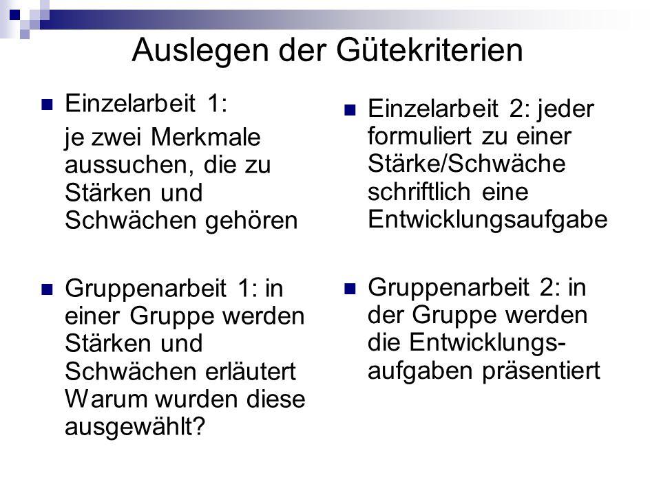 Auslegen der Gütekriterien Einzelarbeit 1: je zwei Merkmale aussuchen, die zu Stärken und Schwächen gehören Gruppenarbeit 1: in einer Gruppe werden St