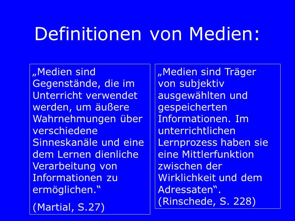 Definitionen von Medien: Medien sind Gegenstände, die im Unterricht verwendet werden, um äußere Wahrnehmungen über verschiedene Sinneskanäle und eine dem Lernen dienliche Verarbeitung von Informationen zu ermöglichen.