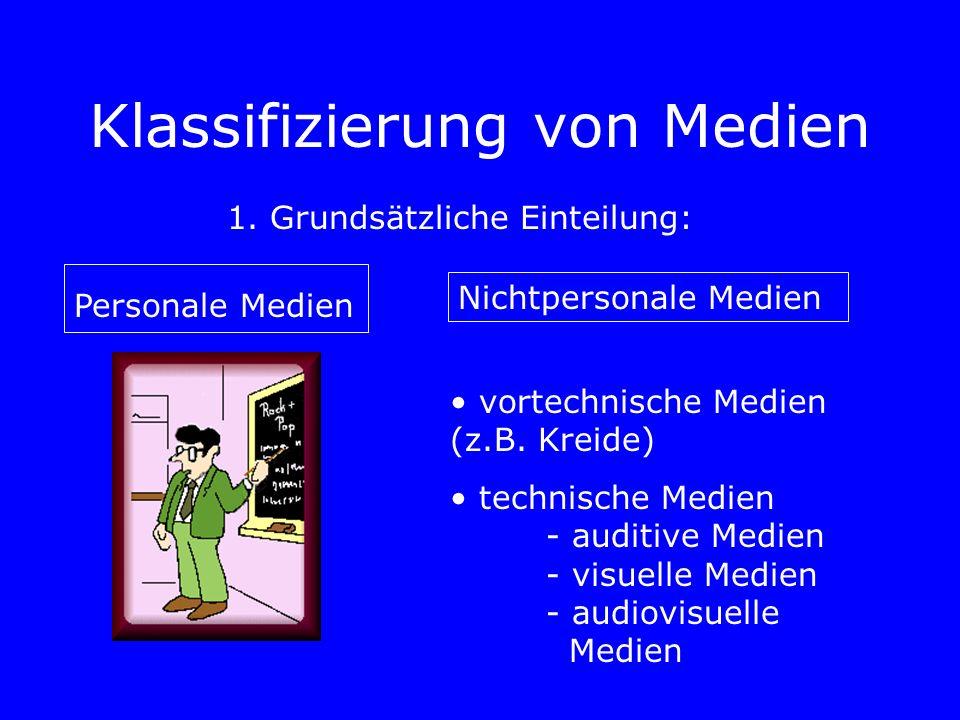 Klassifizierung von Medien 1. Grundsätzliche Einteilung: Personale Medien Nichtpersonale Medien vortechnische Medien (z.B. Kreide) technische Medien -