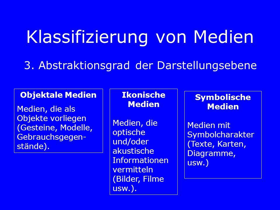 Klassifizierung von Medien 3. Abstraktionsgrad der Darstellungsebene Objektale Medien Medien, die als Objekte vorliegen (Gesteine, Modelle, Gebrauchsg