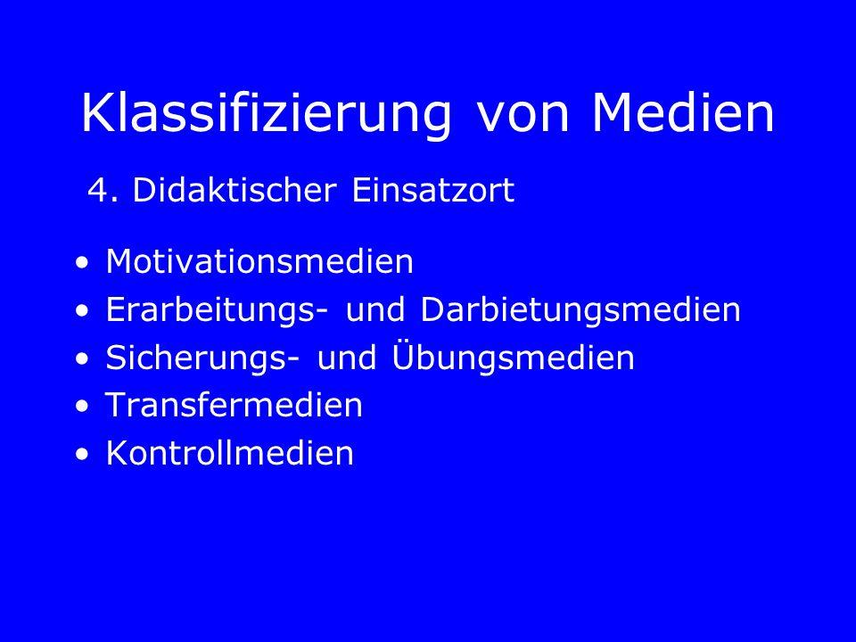 Klassifizierung von Medien Motivationsmedien Erarbeitungs- und Darbietungsmedien Sicherungs- und Übungsmedien Transfermedien Kontrollmedien 4.