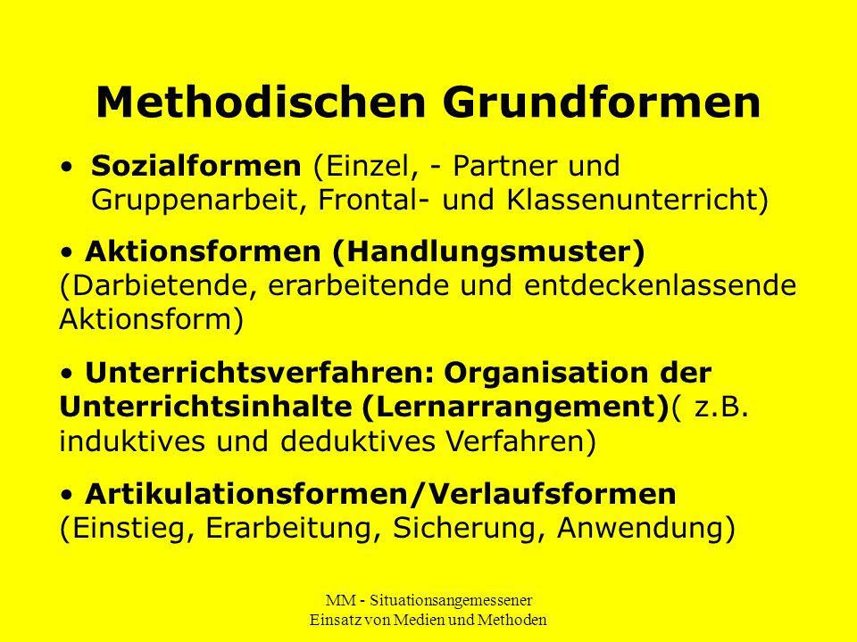 MM - Situationsangemessener Einsatz von Medien und Methoden Methodischen Grundformen Sozialformen (Einzel, - Partner und Gruppenarbeit, Frontal- und K