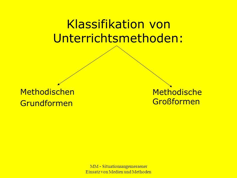 MM - Situationsangemessener Einsatz von Medien und Methoden Klassifikation von Unterrichtsmethoden: Methodischen Grundformen Methodische Großformen