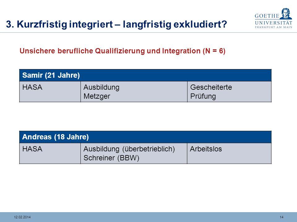 1312.02.2014 3. Kurzfristig integriert – langfristig exkludiert? Stabile berufliche Qualifizierung und Integration (N = 4) Weiterführende Bildungs- un