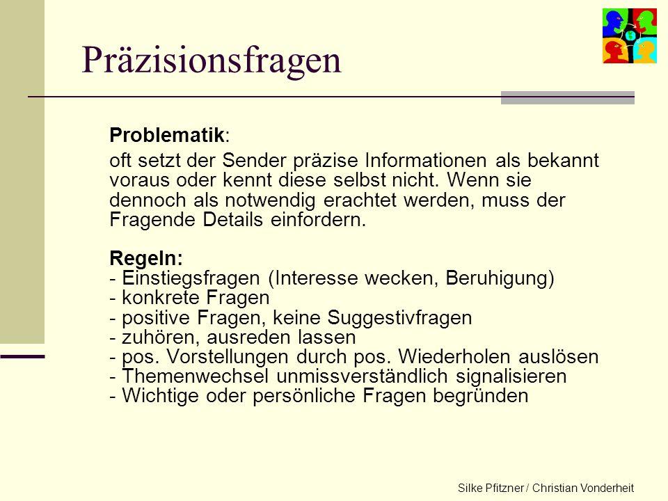 Silke Pfitzner / Christian Vonderheit Nicht wertende Verständnisfragen Offene Fragen: erlauben dem Befragten, so viel Informationen zu geben, wie aus
