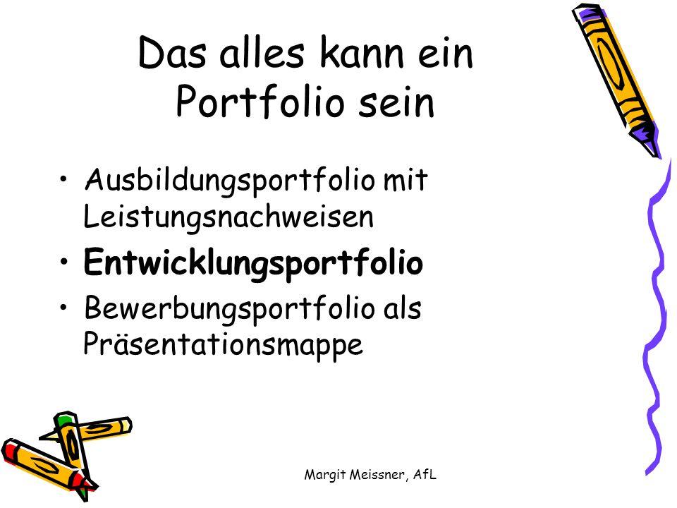 Margit Meissner, AfL Das alles kann ein Portfolio sein Ausbildungsportfolio mit Leistungsnachweisen Entwicklungsportfolio Bewerbungsportfolio als Präsentationsmappe