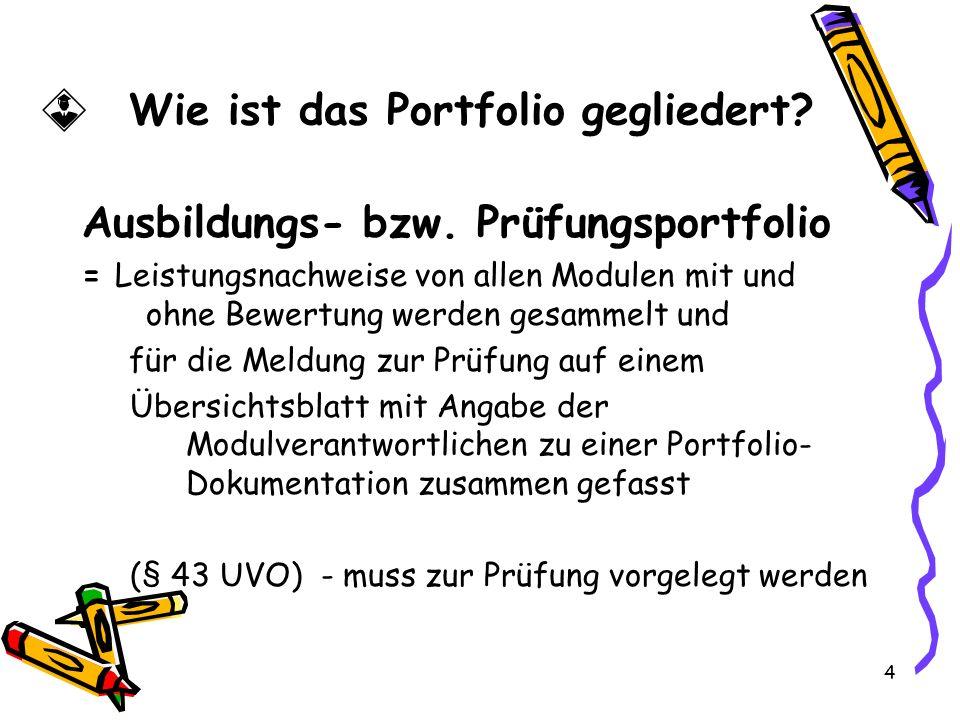 4 Wie ist das Portfolio gegliedert.Ausbildungs- bzw.