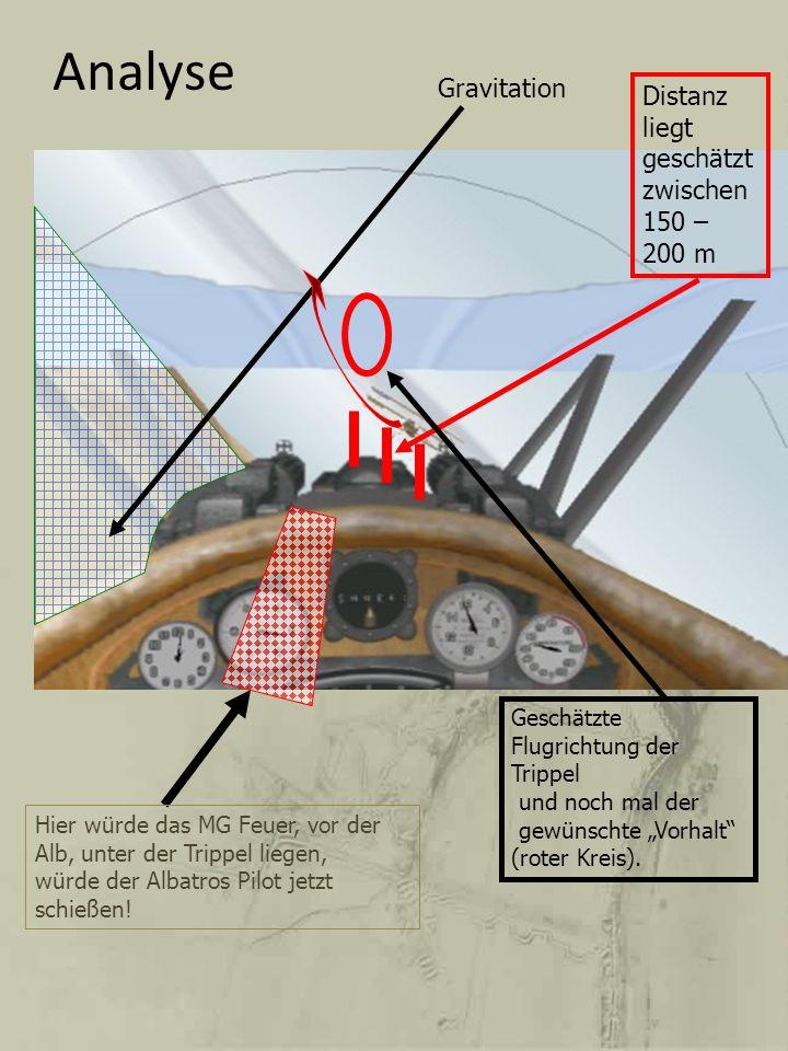 Analyse Gravitation Hier würde das MG Feuer, vor der Alb, unter der Trippel liegen, würde der Albatros Pilot jetzt schießen! Distanz liegt geschätzt z