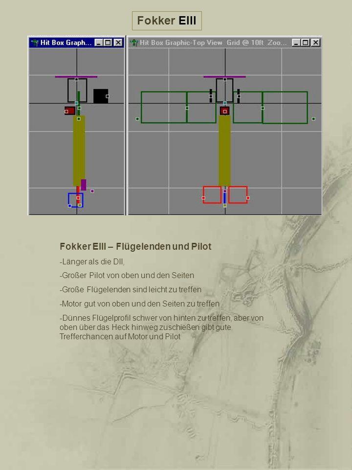 Fokker EIII – Flügelenden und Pilot -Länger als die DII, -Großer Pilot von oben und den Seiten -Große Flügelenden sind leicht zu treffen -Motor gut vo