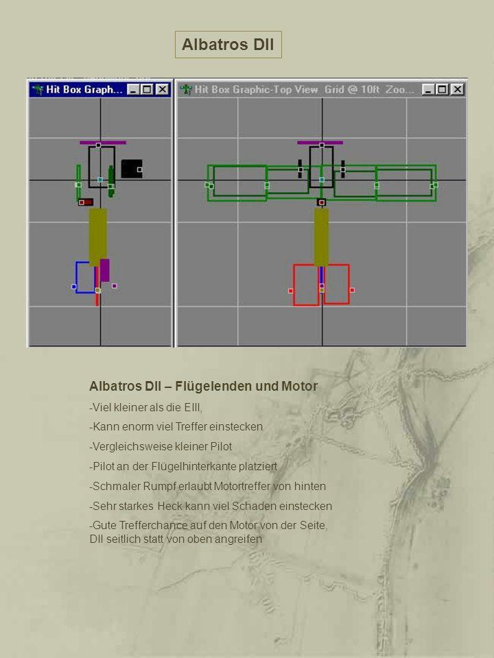 Albatros DII Albatros DII – Flügelenden und Motor -Viel kleiner als die EIII, -Kann enorm viel Treffer einstecken -Vergleichsweise kleiner Pilot -Pilo