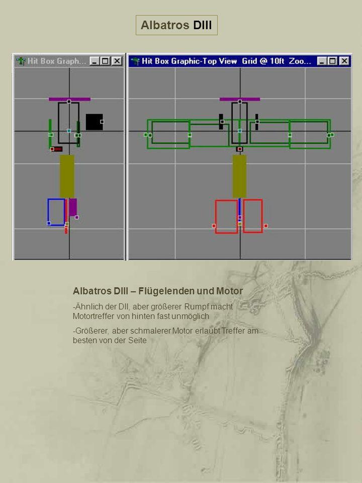 Albatros DIII Albatros DIII – Flügelenden und Motor -Ähnlich der DII, aber größerer Rumpf macht Motortreffer von hinten fast unmöglich -Größerer, aber