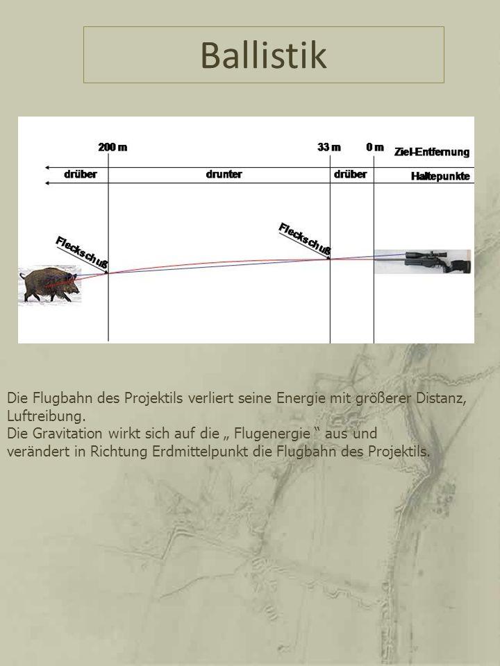 Ballistik Die Flugbahn des Projektils verliert seine Energie mit größerer Distanz, Luftreibung. Die Gravitation wirkt sich auf die Flugenergie aus und