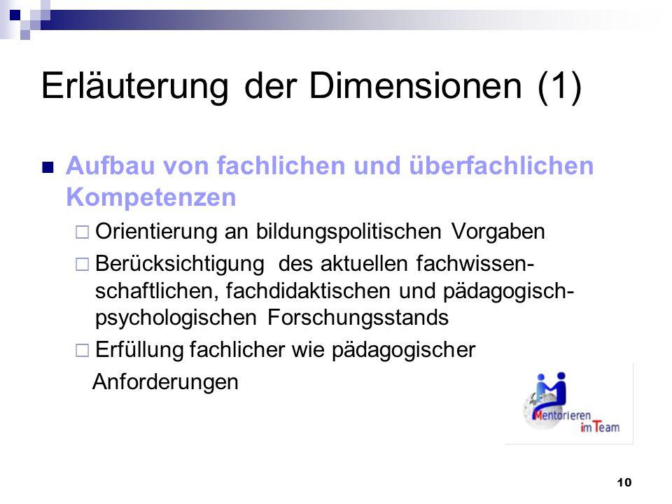 10 Erläuterung der Dimensionen (1) Aufbau von fachlichen und überfachlichen Kompetenzen Orientierung an bildungspolitischen Vorgaben Berücksichtigung