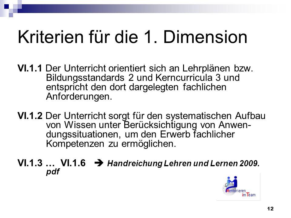 12 Kriterien für die 1. Dimension VI.1.1 Der Unterricht orientiert sich an Lehrplänen bzw. Bildungsstandards 2 und Kerncurricula 3 und entspricht den
