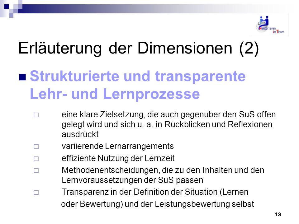 13 Erläuterung der Dimensionen (2) Strukturierte und transparente Lehr- und Lernprozesse eine klare Zielsetzung, die auch gegenüber den SuS offen gele