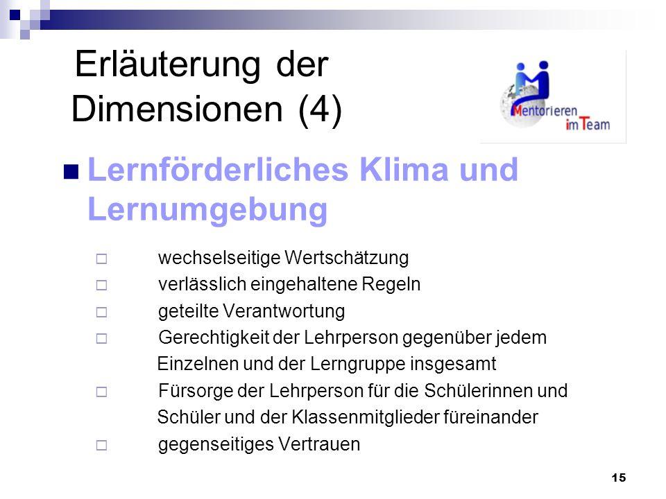 15 Erläuterung der Dimensionen (4) Lernförderliches Klima und Lernumgebung wechselseitige Wertschätzung verlässlich eingehaltene Regeln geteilte Veran