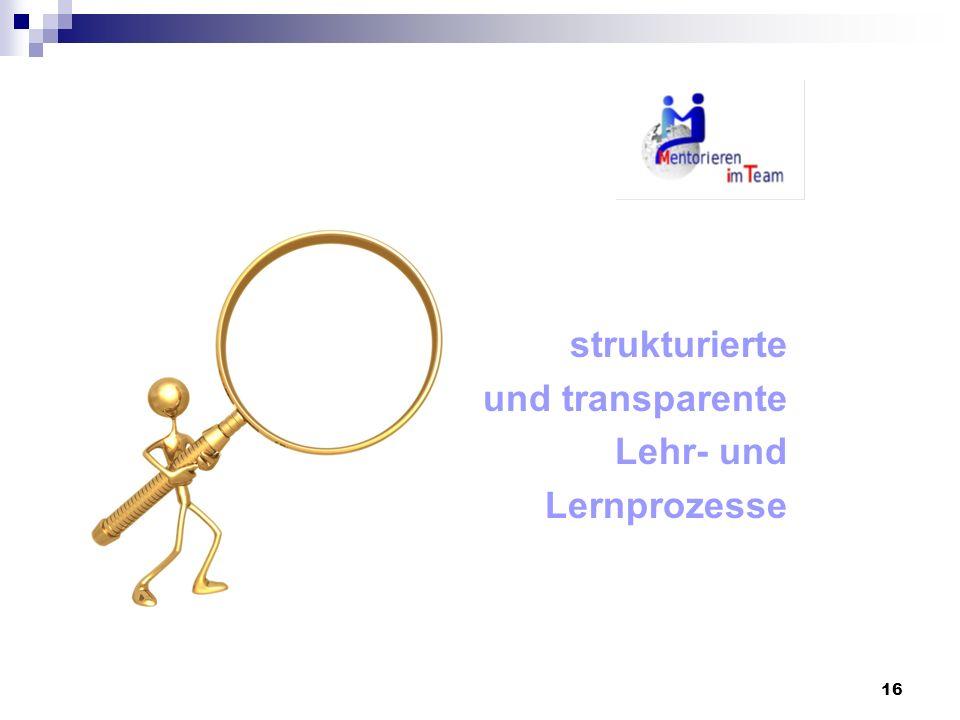 16 strukturierte und transparente Lehr- und Lernprozesse