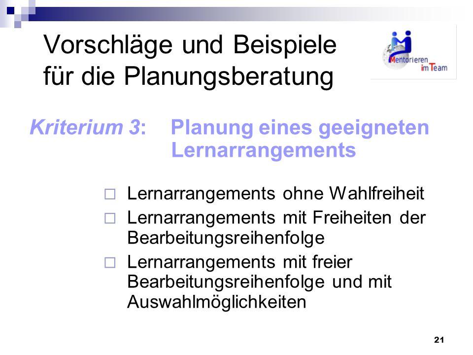 21 Vorschläge und Beispiele für die Planungsberatung Kriterium 3: Planung eines geeigneten Lernarrangements Lernarrangements ohne Wahlfreiheit Lernarr