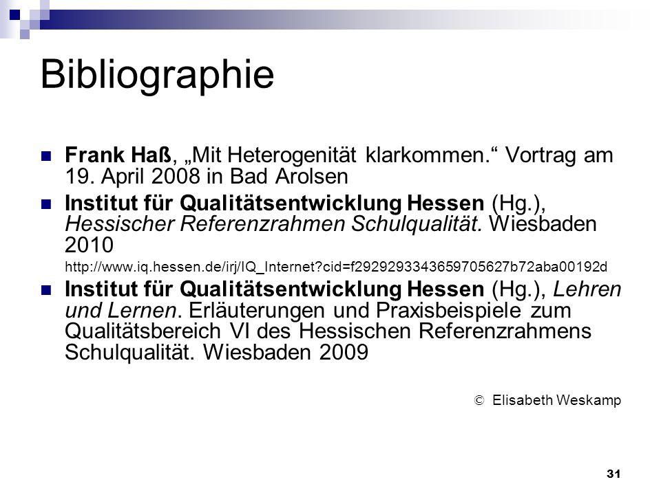 31 Bibliographie Frank Haß, Mit Heterogenität klarkommen. Vortrag am 19. April 2008 in Bad Arolsen Institut für Qualitätsentwicklung Hessen (Hg.), Hes