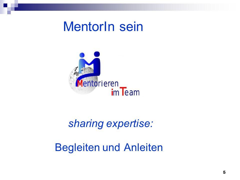 5 MentorIn sein sharing expertise: Begleiten und Anleiten