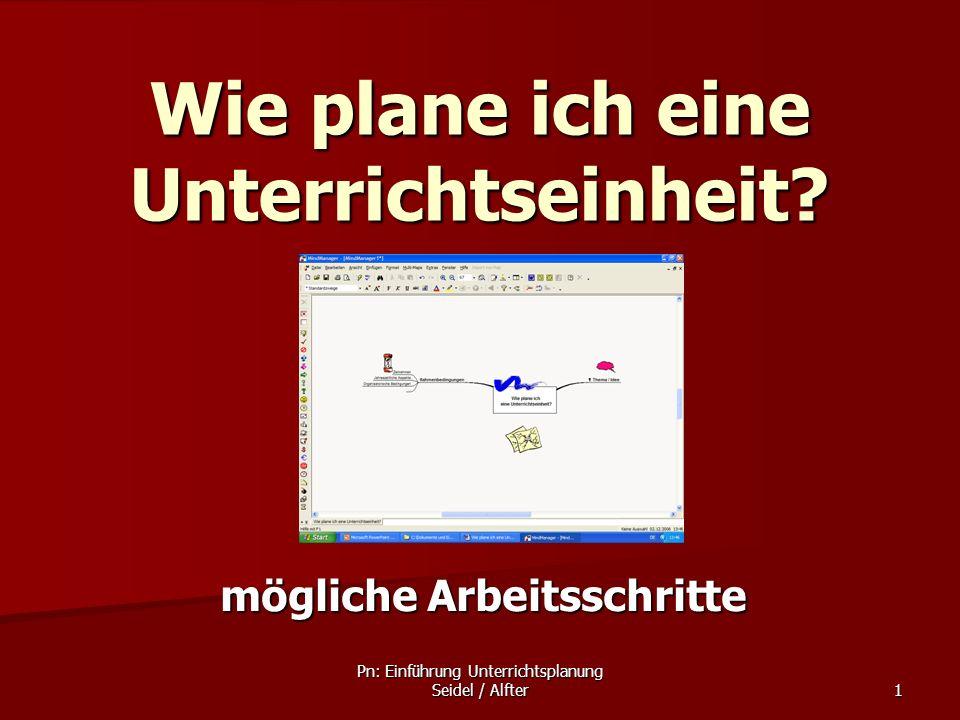 Pn: Einführung Unterrichtsplanung Seidel / Alfter 1 Wie plane ich eine Unterrichtseinheit? mögliche Arbeitsschritte