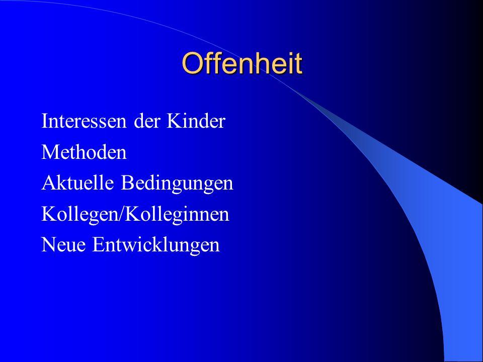 Offenheit Interessen der Kinder Methoden Aktuelle Bedingungen Kollegen/Kolleginnen Neue Entwicklungen