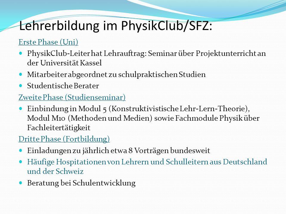 Lehrerbildung im PhysikClub/SFZ: Erste Phase (Uni) PhysikClub-Leiter hat Lehrauftrag: Seminar über Projektunterricht an der Universität Kassel Mitarbe