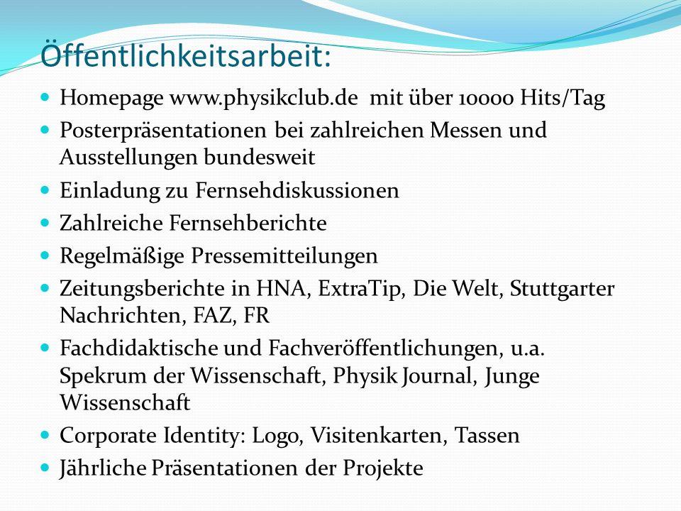 Öffentlichkeitsarbeit: Homepage www.physikclub.de mit über 10000 Hits/Tag Posterpräsentationen bei zahlreichen Messen und Ausstellungen bundesweit Einladung zu Fernsehdiskussionen Zahlreiche Fernsehberichte Regelmäßige Pressemitteilungen Zeitungsberichte in HNA, ExtraTip, Die Welt, Stuttgarter Nachrichten, FAZ, FR Fachdidaktische und Fachveröffentlichungen, u.a.