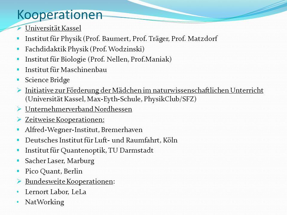 Kooperationen Universität Kassel Institut für Physik (Prof. Baumert, Prof. Träger, Prof. Matzdorf Fachdidaktik Physik (Prof. Wodzinski) Institut für B
