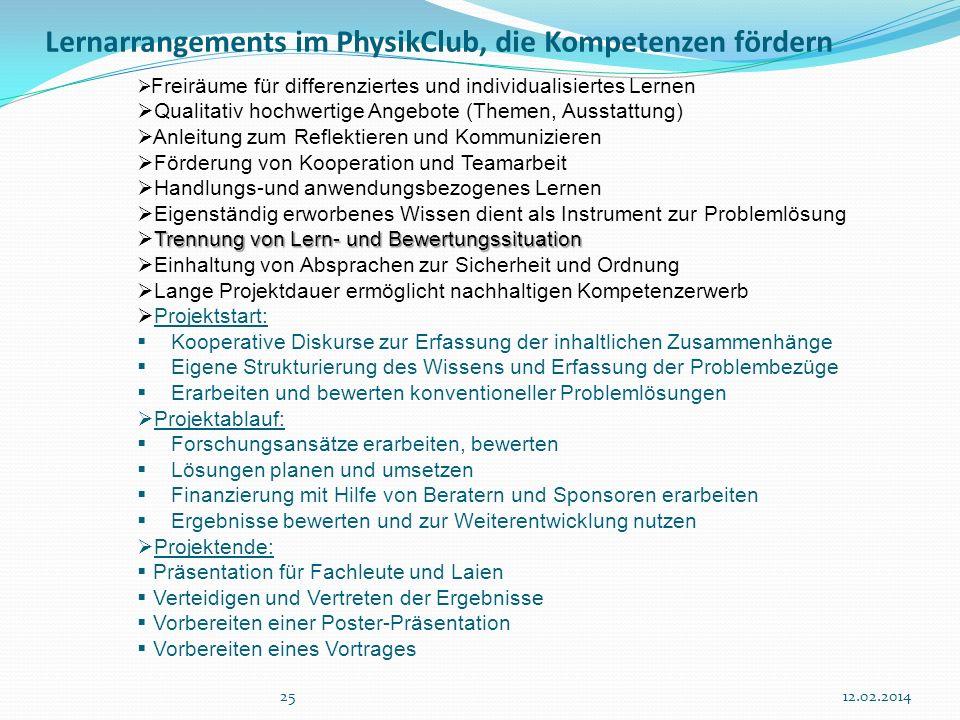 Lernarrangements im PhysikClub, die Kompetenzen fördern 2512.02.2014 Freiräume für differenziertes und individualisiertes Lernen Qualitativ hochwertig