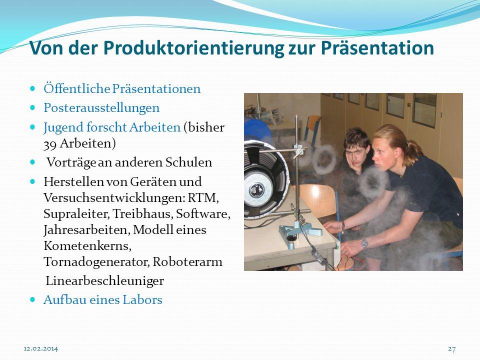 2712.02.2014 Von der Produktorientierung zur Präsentation Öffentliche Präsentationen Posterausstellungen Jugend forscht Arbeiten (bisher 39 Arbeiten)