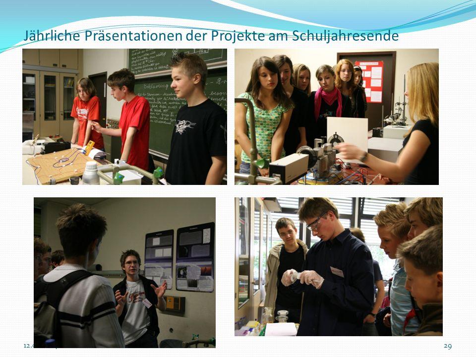 Jährliche Präsentationen der Projekte am Schuljahresende 2912.02.2014