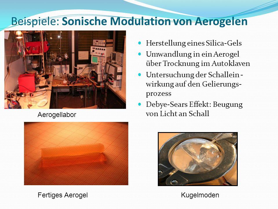 Beispiele: Sonische Modulation von Aerogelen Aerogellabor Herstellung eines Silica-Gels Umwandlung in ein Aerogel über Trocknung im Autoklaven Untersuchung der Schallein - wirkung auf den Gelierungs- prozess Debye-Sears Effekt: Beugung von Licht an Schall Fertiges AerogelKugelmoden