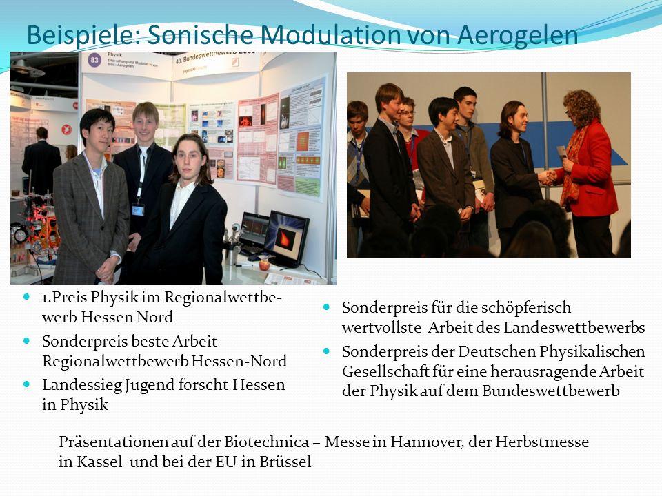 Beispiele: Sonische Modulation von Aerogelen Sonderpreis für die schöpferisch wertvollste Arbeit des Landeswettbewerbs Sonderpreis der Deutschen Physi