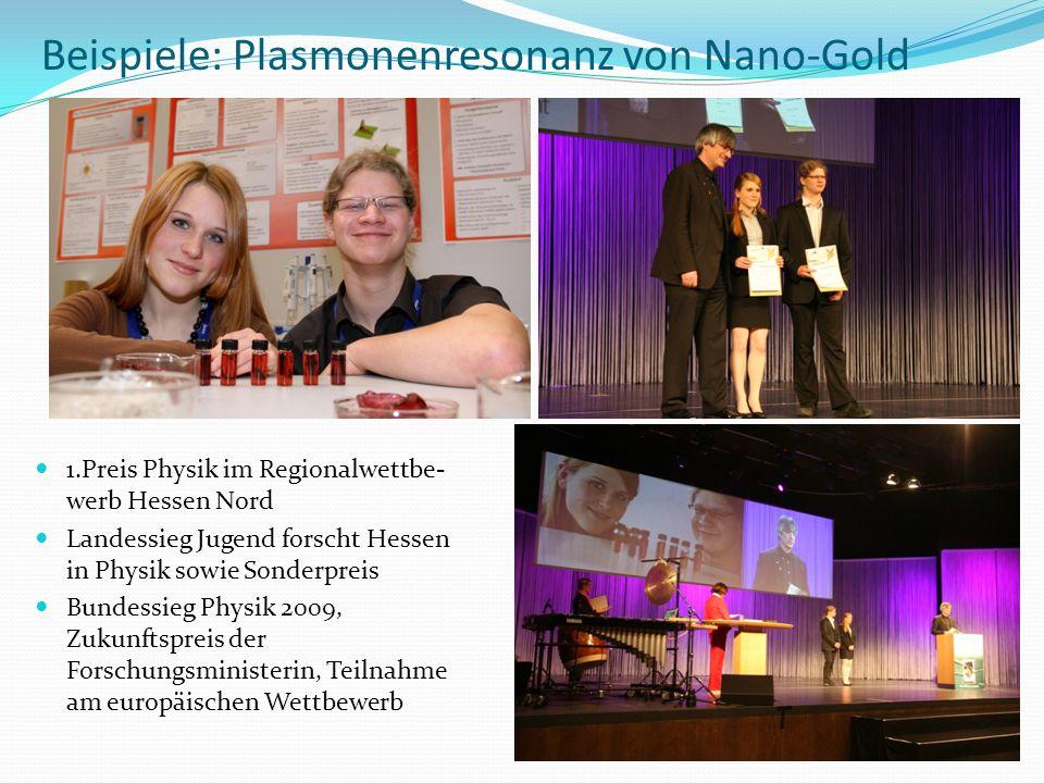 Beispiele: Plasmonenresonanz von Nano-Gold 1.Preis Physik im Regionalwettbe- werb Hessen Nord Landessieg Jugend forscht Hessen in Physik sowie Sonderp