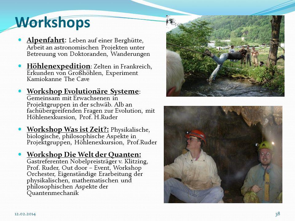 3812.02.2014 Workshops Alpenfahrt: Leben auf einer Berghütte, Arbeit an astronomischen Projekten unter Betreuung von Doktoranden, Wanderungen Höhlenex