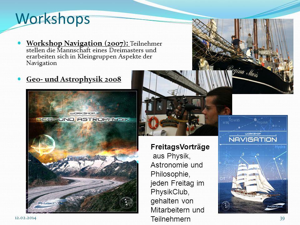 3912.02.2014 Workshops Workshop Navigation (2007): Teilnehmer stellen die Mannschaft eines Dreimasters und erarbeiten sich in Kleingruppen Aspekte der