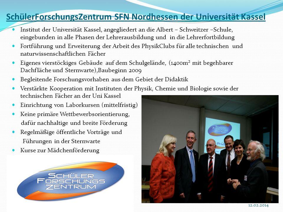 4112.02.2014 SchülerForschungsZentrum SFN Nordhessen der Universität Kassel Institut der Universität Kassel, angegliedert an die Albert – Schweitzer –