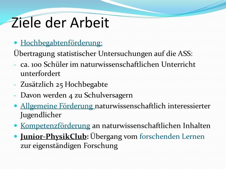 Ziele der Arbeit Hochbegabtenförderung: Übertragung statistischer Untersuchungen auf die ASS: - ca. 100 Schüler im naturwissenschaftlichen Unterricht