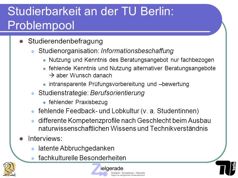 Studierbarkeit an der TU Berlin: Problempool Studierendenbefragung Studienorganisation: Informationsbeschaffung Nutzung und Kenntnis des Beratungsange