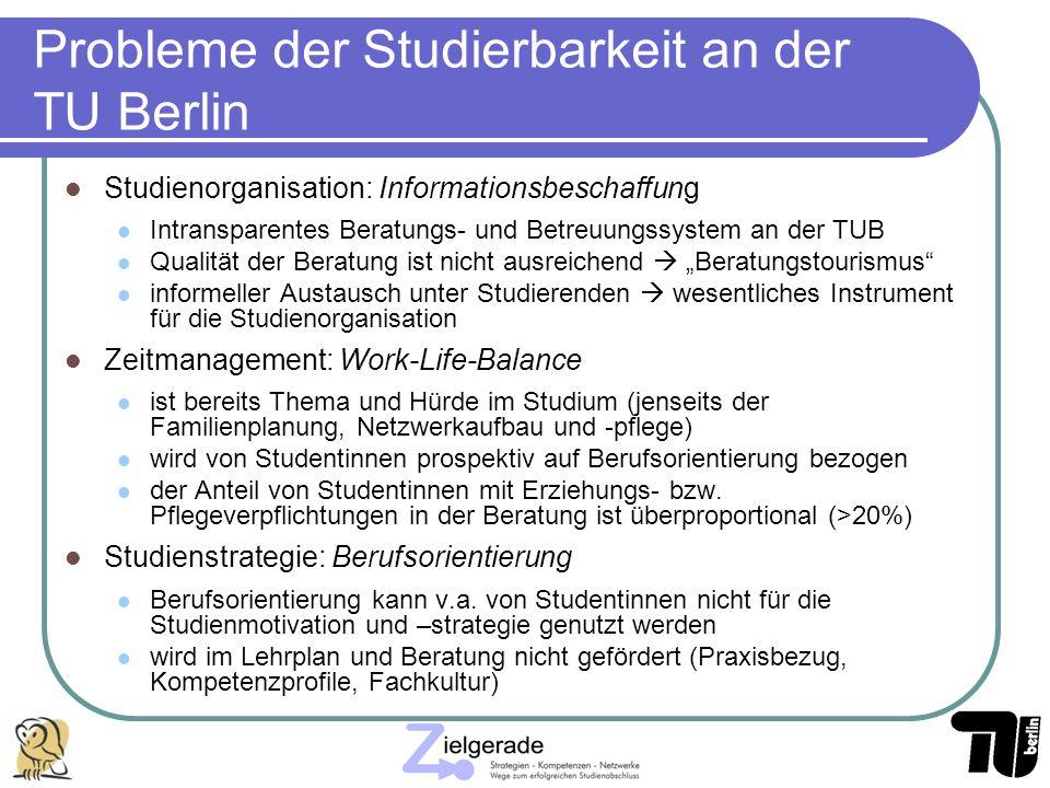 Probleme der Studierbarkeit an der TU Berlin Studienorganisation: Informationsbeschaffung Intransparentes Beratungs- und Betreuungssystem an der TUB Q