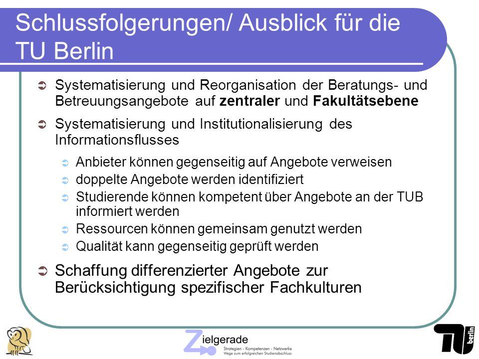 Schlussfolgerungen/ Ausblick für die TU Berlin Systematisierung und Reorganisation der Beratungs- und Betreuungsangebote auf zentraler und Fakultätseb