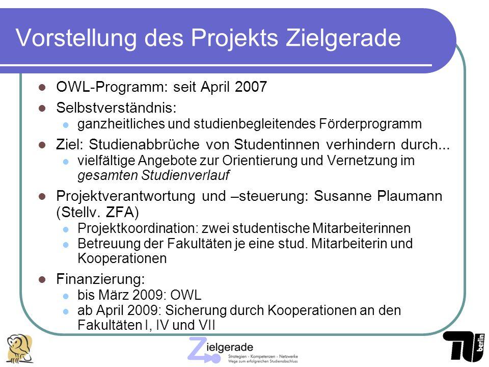 Vorstellung des Projekts Zielgerade OWL-Programm: seit April 2007 Selbstverständnis: ganzheitliches und studienbegleitendes Förderprogramm Ziel: Studi