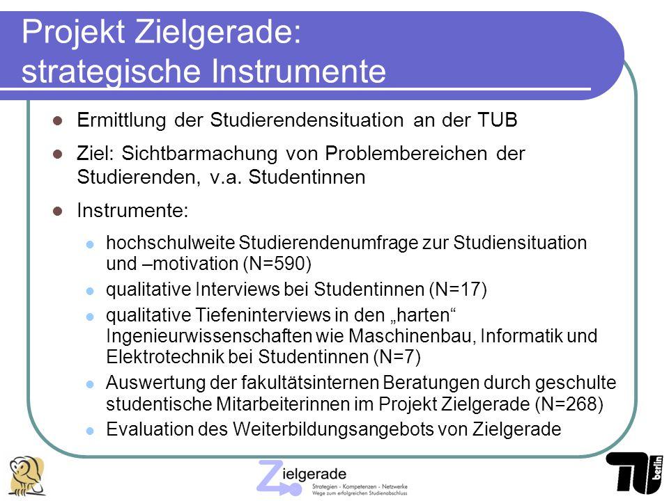Projekt Zielgerade: strategische Instrumente Ermittlung der Studierendensituation an der TUB Ziel: Sichtbarmachung von Problembereichen der Studierend
