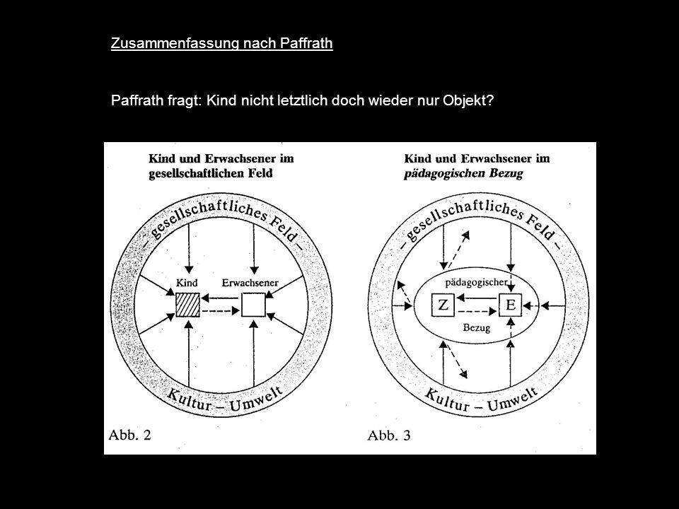 Zusammenfassung nach Paffrath Paffrath fragt: Kind nicht letztlich doch wieder nur Objekt?