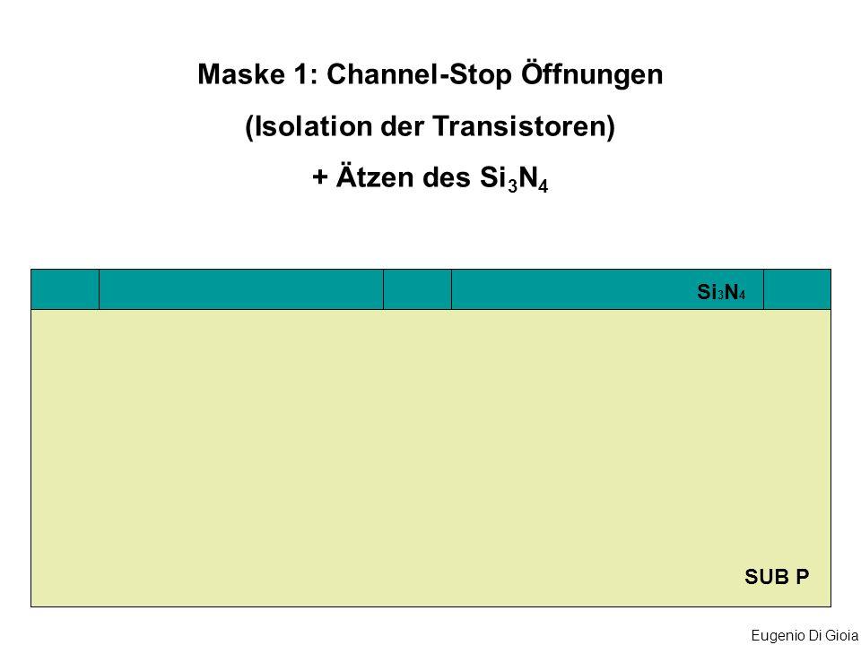 Eugenio Di Gioia SUB P Si 3 N 4 Maske 1: Channel-Stop Öffnungen (Isolation der Transistoren) + Ätzen des Si 3 N 4