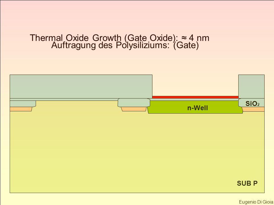 Eugenio Di Gioia SUB P n-Well SiO 2 Thermal Oxide Growth (Gate Oxide): 4 nm Auftragung des Polysiliziums: (Gate)