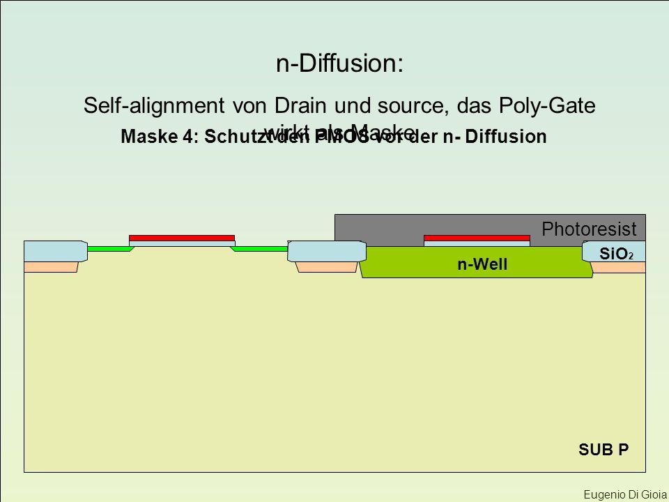 Eugenio Di Gioia SUB P n-Well SiO 2 Maske 4: Schutzt den PMOS vor der n- Diffusion Photoresist n-Diffusion: Self-alignment von Drain und source, das P